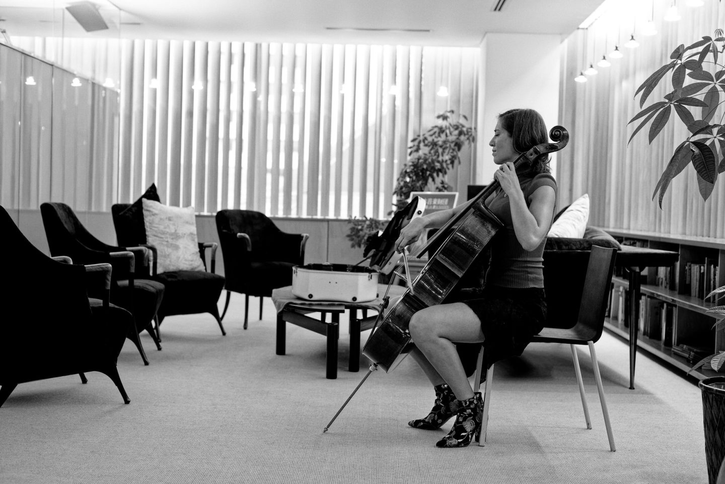 Camille Thomas in Tokyo with her Stradivarius Cello by Franck Socha