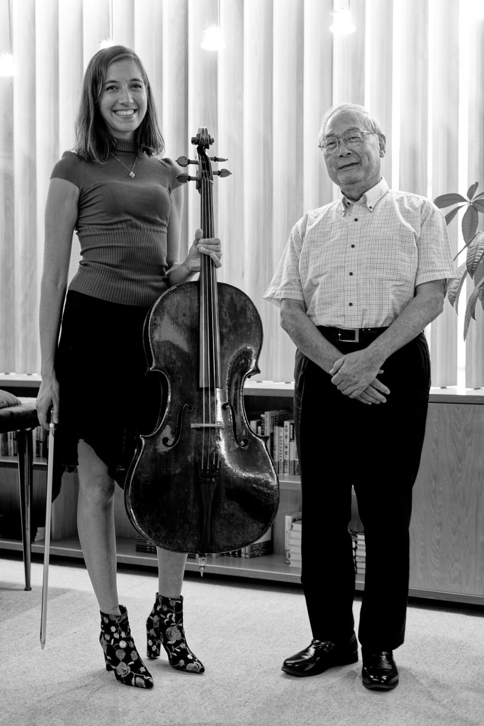Camille Thomas in Tokyo with her Stradivarius Cello aside Mr Kano, director of the Nippon Foundation for Music, by Franck Socha